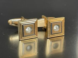 LE MANS 14K YELLOW GOLD  & DIAMOND CUFF LINKS