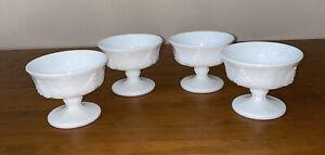 White Milk  Dessert Berry Bowls - Indiana Glass Harvest Grape Design 1950's X 4
