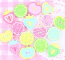 6 X Frutas Pastel Resina Cabujones Adornos De Verano Decoden Kawaii Arte Mix