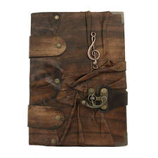 Handmade Real Leather Journal Diary Notebook Brown Bound Solo Music Book Large