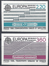 EUROPA TRANSPORTS N°2531/2532 TIMBRE NON DENTELÉ IMPERF 1988 NEUF ** MNH