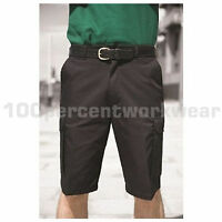 """Warrior Mens Polycotton Cargo Work Shorts Trousers Black or Navy Blue 28"""" to 52"""""""
