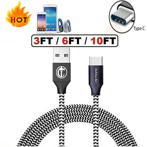 3/6/10FT LONG Braided USB C Type-C Fast Charging Data SYNC Charger Cable Cord