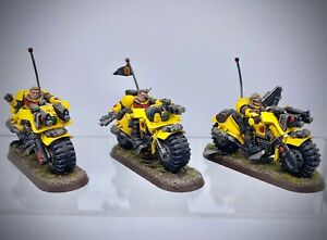 Warhammer 40,000 - Space Marine Imperial Fists Scout Bike Squad painted
