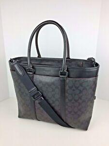 COACH F23211 Signature Business Tote Bag Unisex Coated Canvas Black Oxblood NWT