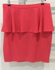 Topshop Ladies Peplum Style Mini Skirt Coral Size 12