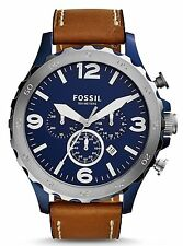 Fossil JR1504 Men's Nate Brown Leather Band Blue Dial Chronograph Date Watch