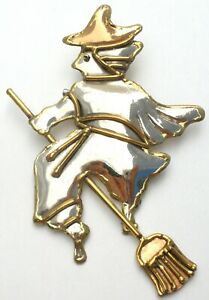 Large Witch Flying on Brooch Pendant Brooch Halloween Pin Silver Brass Copper