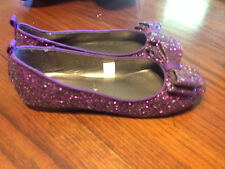 PURPLE Glitter Slip On Shoes With Bow Youth Girls Size 4