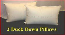 DUCK 85% DOWN 15% FEATHER PILLOWS 2 STANDARD SIZE PILLOWS 100% COTTON COVER