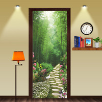 3D Stone Step Bamboo Forest Self-Adhesive Door Murals Wall Sticker Bedroom Decor