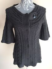 River Island Womens Cardigan Size 8 Dark Grey Cable Knit Short Sleeved