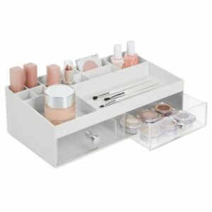 mDesign Wide Plastic Makeup Storage Organizer Caddy Box, 2 Drawers - Gray/Clear