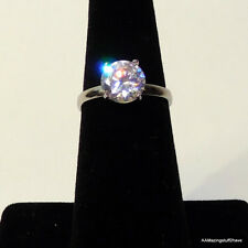 Giani Champagne Clear Cubic Zirconia Silver Solitair Ring Sz 6  NEW $80 FREE S/H