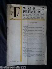 INTERNATIONAL THEATRE INSTITUTE WORLD PREMIER - JAN 1952 VOL 3 #4