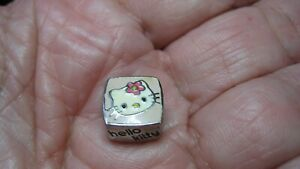 NICE SANRIO HELLO KITTYSTER SILVER CHARM W/ENAMEL & CRYSTAL, DOES NOT OPEN