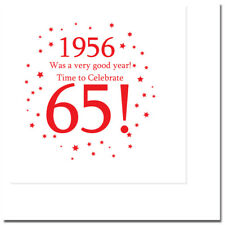 "65th Birthday Party Supplies (Age 65) ""1956"" Lunch Dessert Plates, Napkins, Cups"