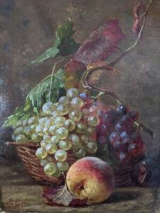 Tableau XIXe Nature Morte Aux Fruits Huile Sur Toile Signée 19e