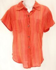 CHICO'S Orange Striped Short Sleeve Button Down Collared 100% Cotton Womens SZ 1