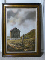 "OIL PAINTING  STRIKING (OLD BARN) ON CANVAS BY HECTOR SALAS 37""x 25"" H  # 7283"