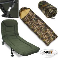 NEW NGT CARP FISHING 6 LEG RECLINER BEDCHAIR WITH MUD FEET + CAMO SLEEPING BAG
