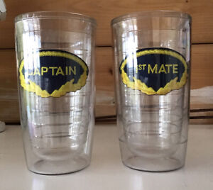 Vintage Set of 2 Navy Nautical Tervis Tumblers Captain ,1st Mate Cups