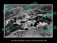 OLD POSTCARD SIZE PHOTO SAN SIMEON CALIFORNIA, AERIAL VIEW HEARST CASTLE c1940