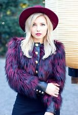 BALMAIN x H&M Red Fur Black Leather Jacket, Size 10US 40EUR 14UK