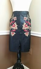 NWT MINKPINK Skirt S Black Faux Leather Embroidered Straight Pencil Modcloth $79