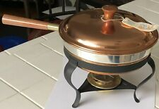 Mid Century Old Dutch Design Brass Copper Chafing Dish With Teak Wood Handle