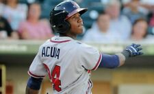 Ronald Acuna Jr # 24 Rome Braves Gray Road Baseball Wilson Minor League Jersey