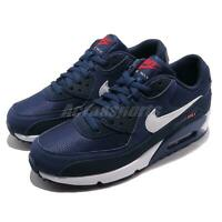 Nike Air Max 90 Essential Midnight Navy White Red Men Running Shoes AJ1285-403
