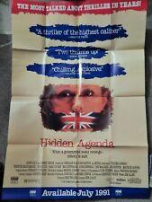 HIDDEN AGENDA ((VIDEO DEALER  40 X 27 POSTER 1990S) FRANCES MCDORMAND COLLECTIBL