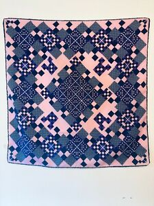 1970's TREVIRA Women's Vintage Blue, Pink and Purple Scarf Size 25x26 Inches