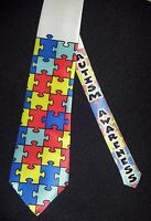 Autism Awareness puzzle tie - White satin classic tie