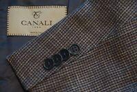 Canali 1934 CURRENT Blue Plaid Silk Linen Blend Sport Coat Jacket Sz 44R BIG GUY