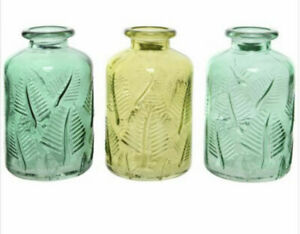 Set Of 3 Green Tone Small Glass Bottle Vases  Greenery Design Ridged Leaf Decal