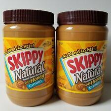 2 Skippy Natural Creamy Peanut Butter Spread With Honey 40 OZ 1.13kg Jar BB 4/21