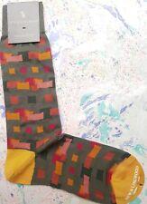 New & Lingwood Men's Medium Cotton Calf Socks Italian Link Oblong Green Multicol
