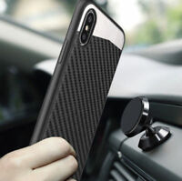For Apple iPhone XS Max XR Magnetic Backplate Carbon Fiber TPU Rubber Case Cover