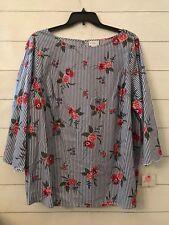 NWT Liz Claiborne Women's Plus 2X Stripe Blue Pink Floral Preppy Cotton Blouse