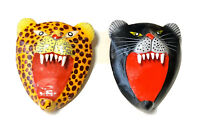 Vintage Wooden Enamel Hand Painted Panther Leopard Brooch Pins