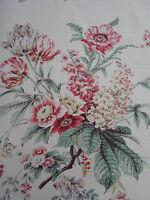 Sanderson Curtain Fabric ~ 'Tournier' Strawberry/Cream 5.6 METRES 100% Linen