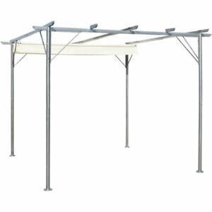Steel Frame Garden Pergola 3x3m Retractable Canopy Weatherproof Outdoor Shade