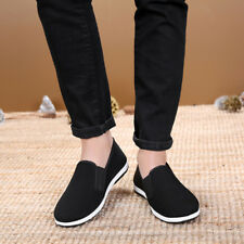 Men Kung Fu Shoes Rubber Sole Tai Chi Martial Arts Slippers Chinese Style Black
