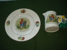 1930's VINTAGE LITTLE RED RIDING HOOD PLATE AND CREAMER,  VERY NICE.