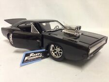 "FAST FURIOUS 7 DOM'S, 1970 DODGE CHARGER R/T, 8.25"" DIE CAST 1:24 JADA TOY BLACK"