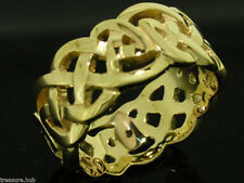 MR31 HEAVY & WIDE Genuine 9ct Solid Yellow GOLD Celtic KELTIC RING size S / 9.25