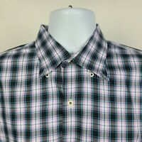 Peter Millar Purple Blue Black Check Plaid Mens Dress Button Shirt Size Large L