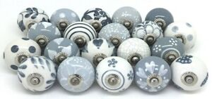 Wholesale Gray White Ceramic Door Knobs Kitchen Knobs Pull Drawer Cabinet Puller